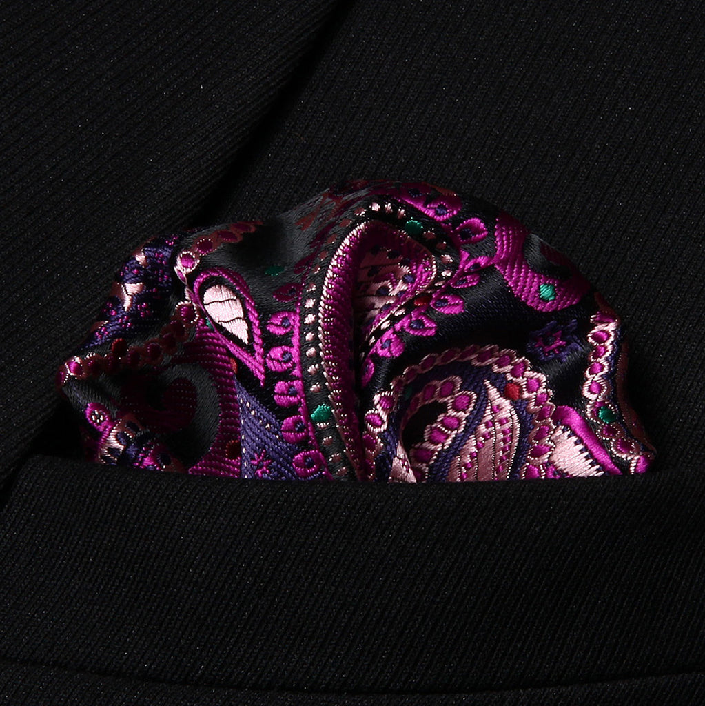 WW Signature Black and Pink Paisley Silk Men Handkerchief / Pocket Square
