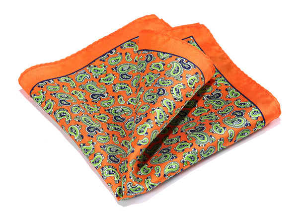 Orange Green WW Handkerchief 100% Natural Silk Satin Mens Hanky Fashion Classic Wedding Party Pocket Square