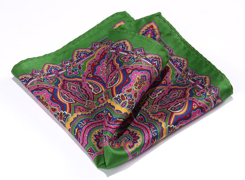 HN34G Green Pink HISDERN Handkerchief 100% Natural Silk Satin Mens Hanky Fashion Classic Wedding Party Pocket Square