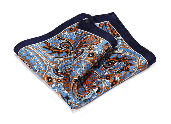HN32V Navy Blue Orange HISDERN Handkerchief 100% Natural Silk Satin Mens Hanky Fashion Classic Wedding Party Pocket Square