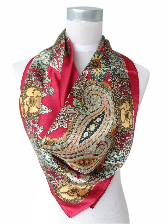 WW Red Women Satin Silk Scarf Printed Fashion