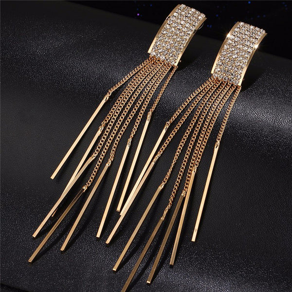 WW Women Long Crystal Drop Tassel Dangle Earrings