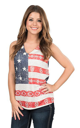 Flag Tank Tops Sleeveless Deep V Neck Crop Tops
