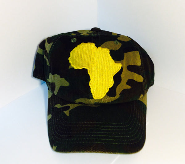 Africa Dad Hat. Gold Africa on a high quality dad hat.