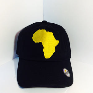 db6549a3063cd Africa Dad Hat. Gold Africa on a high quality dad hat.
