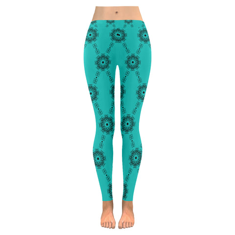 BB Diamond Print Tiffany Blue / Black Leggings