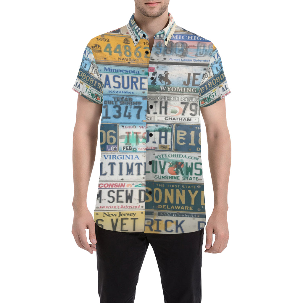 License Plates Button Down Cabana Tee