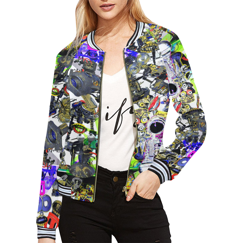 nu bright blanket Women's All Over Print Horizontal Stripes Jacket (Model H21)