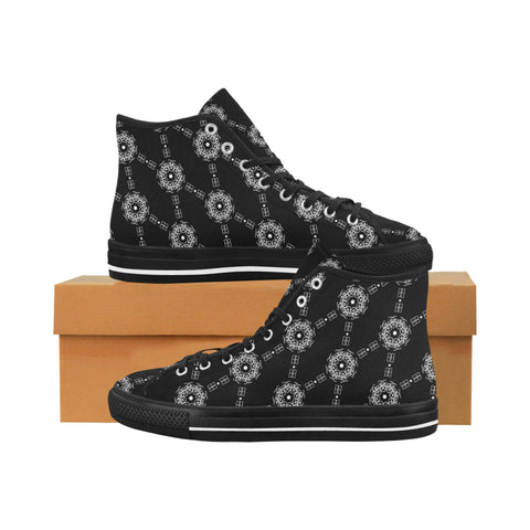 BB Diamond Print All Black High Tops