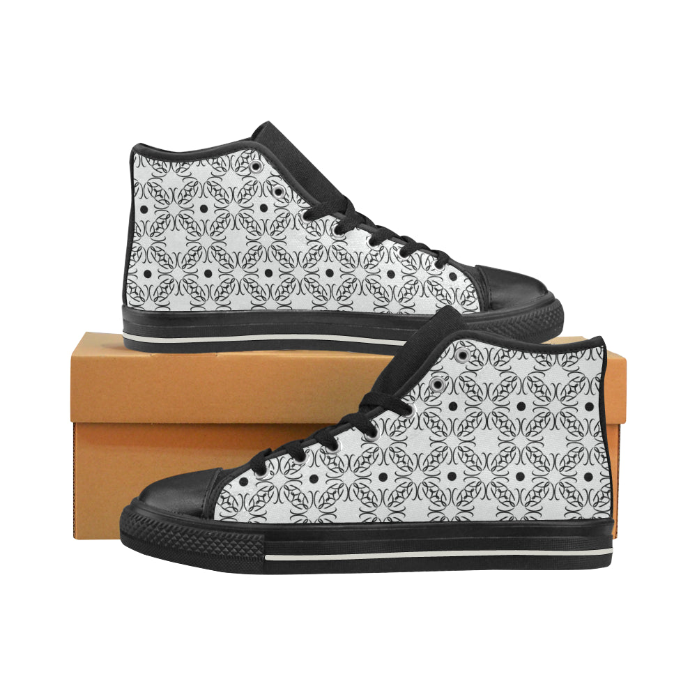 BB Pattern White On Black High Tops