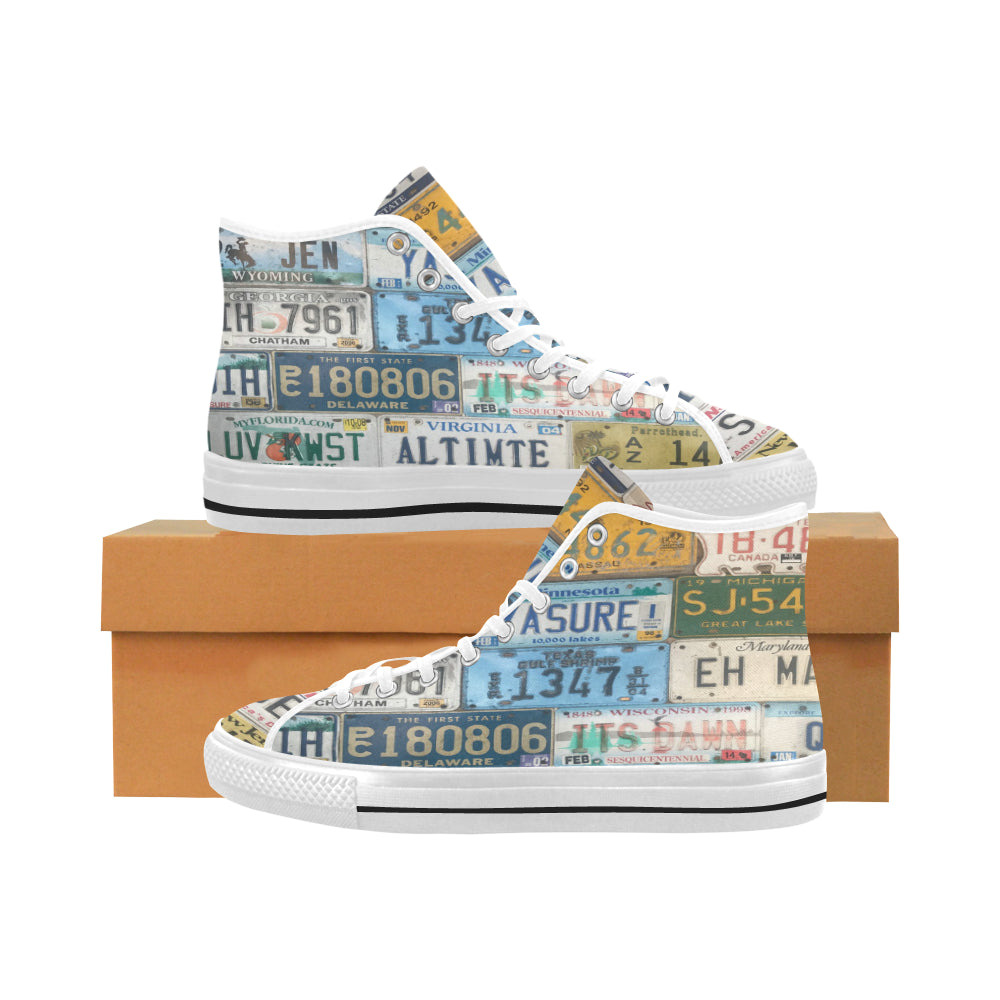 License Plates on White Vâncouver High Tops