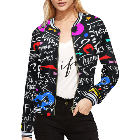 Trynna Fvck (Black) Womens Bomber