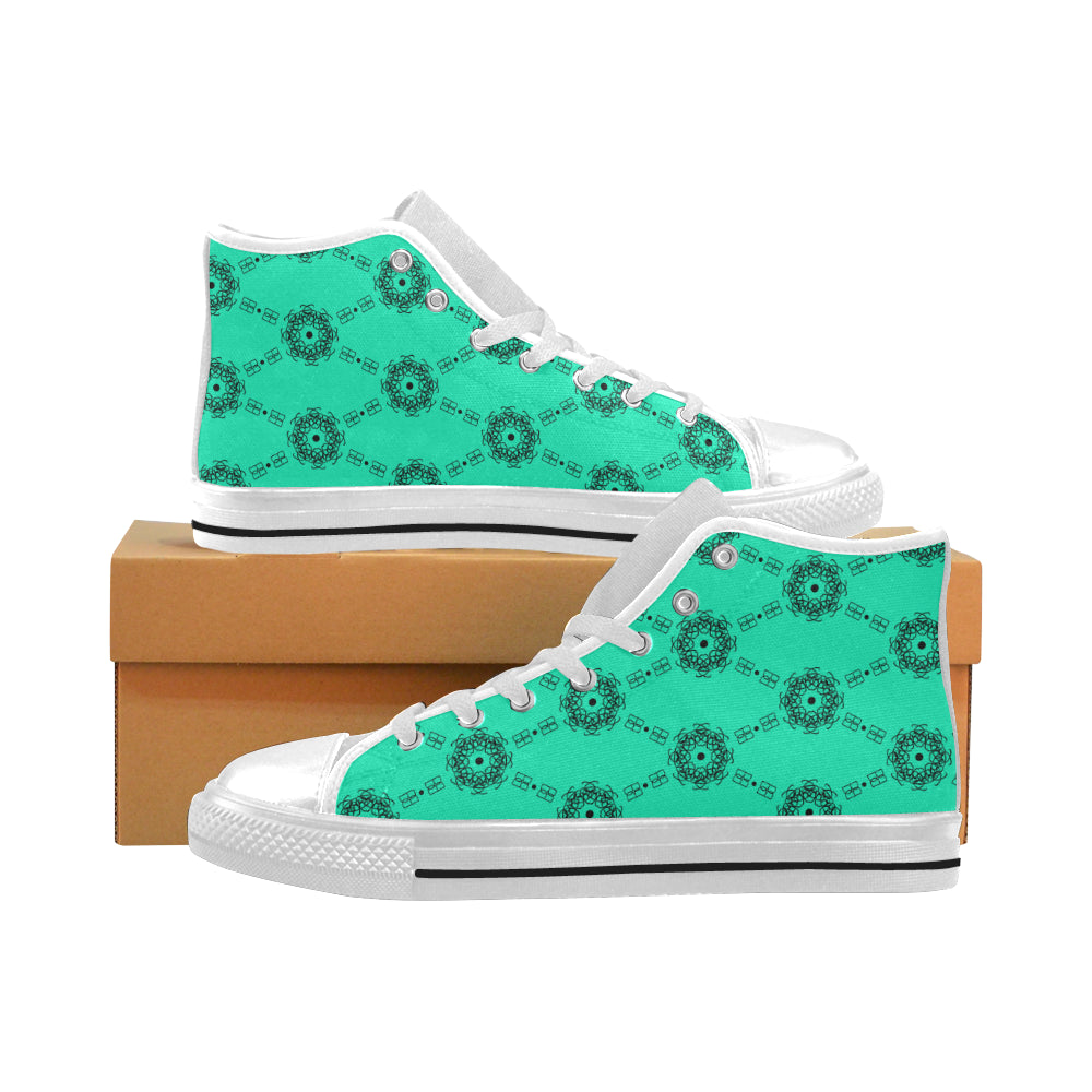 BB Pattern Mint on White High Tops