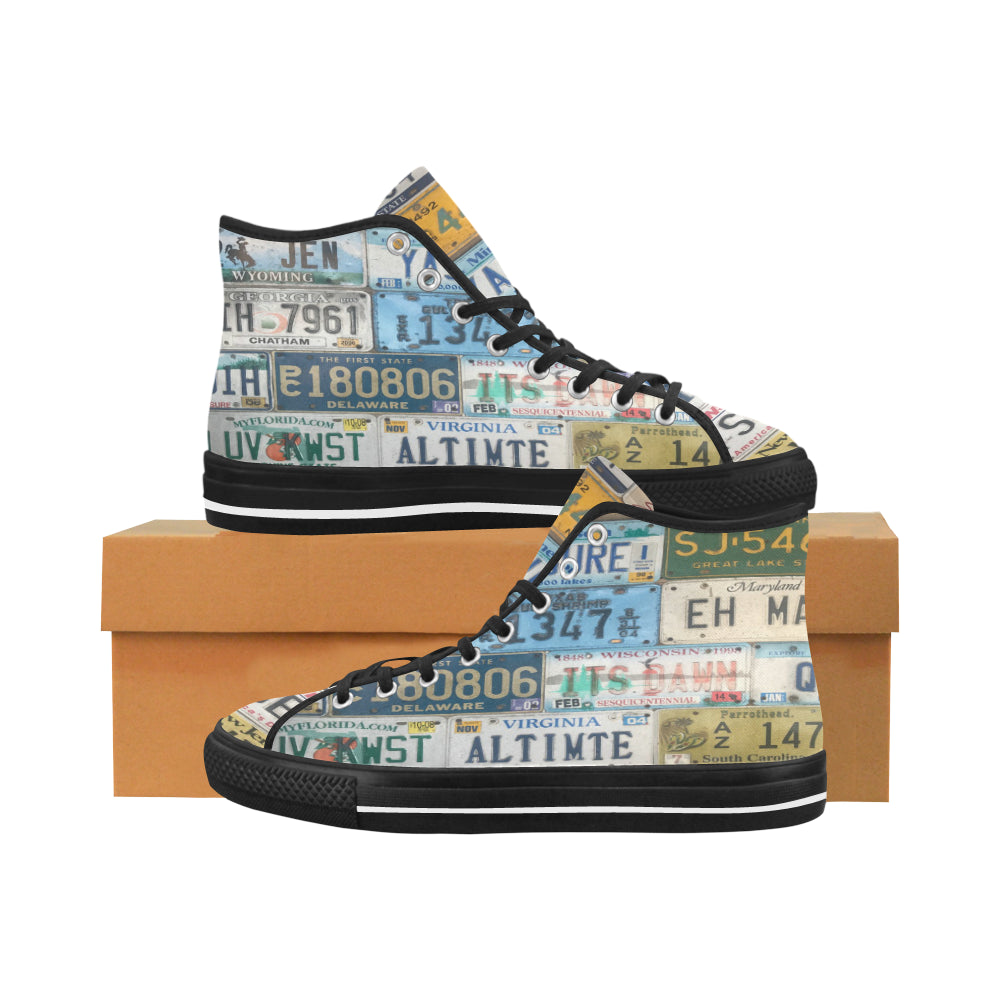 License Plates on Black Vâncouver High Tops