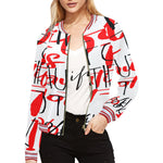 fuck life Women's All Over Print Horizontal Stripes Jacket (Model H21)