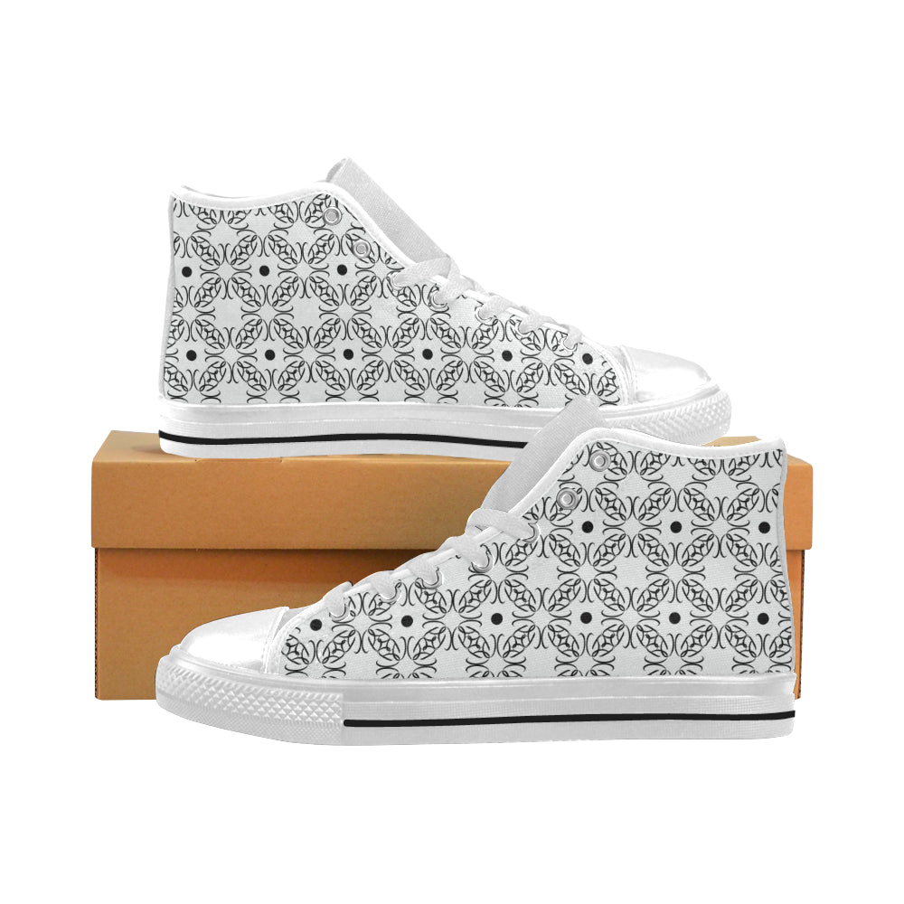 BB Pattern White on White High Tops