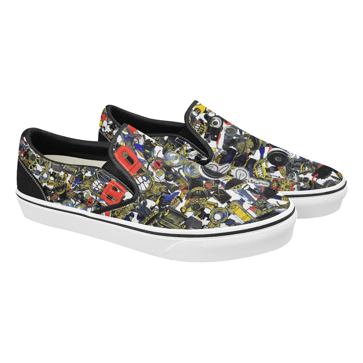 Bierbeach All Over Print Dark Men's Classic Slip-On Sneakers
