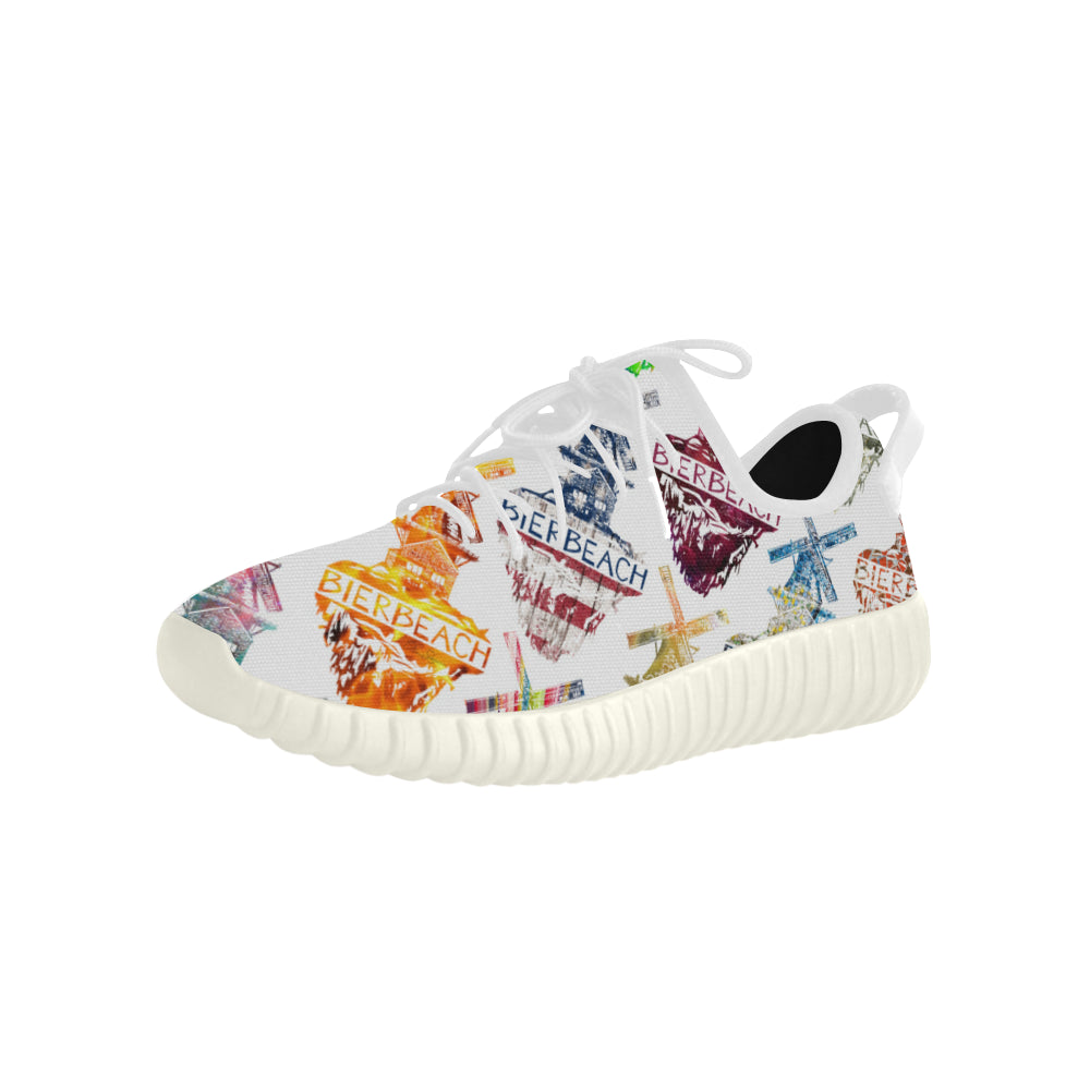 Bierbeach Logo White Yeezy Type Sport Shoes Grus Sports Men's Shoes (Model 022)