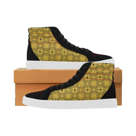 Mustard Gold Sacred Geometry Print Capricorn High Tops