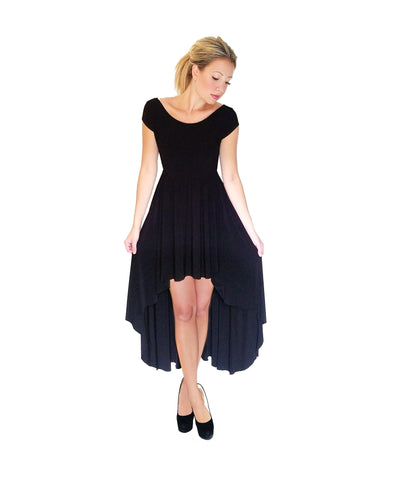 Solid Black High Low Boat Neck Dress - front view
