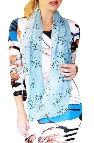 Chiffon Infinity Looper Scarf, Bird Print, Blue/Navy, Summer Shawl