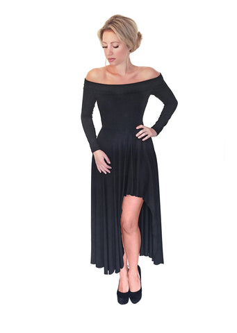 Solid Black High Low Off Shoulder Dress
