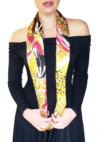 Xsmall Jungle Satin Infinity scarf, long view