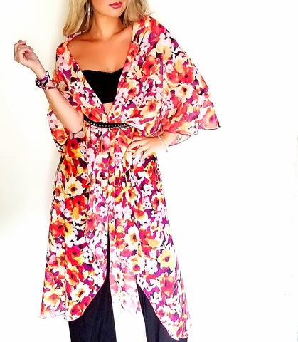 Floral Infinity Vest, Styled as a shawl, belt not included in purchase