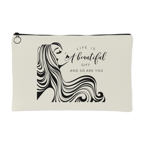 Life is a Beautiful Gift, And So Are You - Makeup & Accessory Pouch/Bag