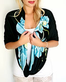Large Infinity Scarf - Blue Orchid Print