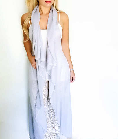 Long length dusty lilac Infinity Vest front view