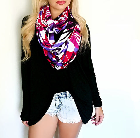 Palm Leaf print Infinity Scarf, front view