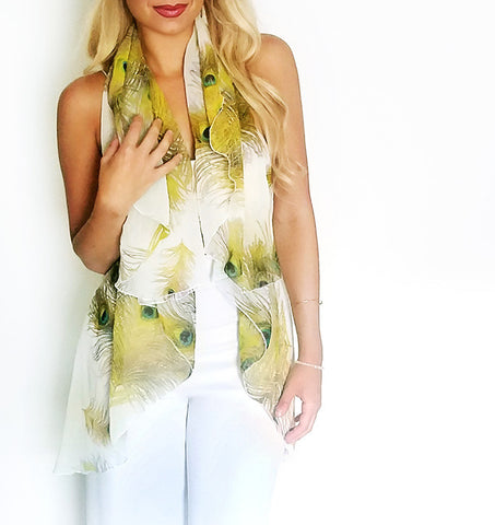 Infinity peacock chiffon summer vest, front view