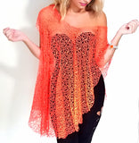 Orange Net Infinity Vest Worn as a Top