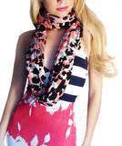 Rayon Knit Infinity Looper Scarf, Mango Orange Black White Grey multi Print, Summer Shawl