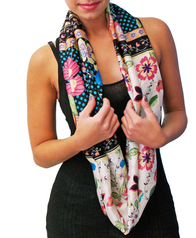 Floral 100% Silk Infinity scarf, front view