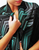 Black/Green Chevron print Medium size Infinity scarf close up view