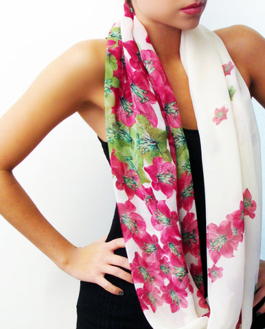Floral on white Chiffon Infinity scarf, front view