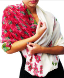 Floral on white Chiffon Infinity scarf, shawl style, front view