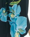 Blue/Black Orchid One Shoulder Bell Sleeve Bodycon Dress