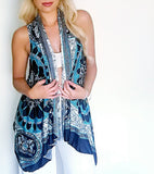 Squared Short Back Length Infinity Vest - Turquoise Scroll Knit