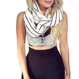 Large Infinity Scarf - Navy/White Stripe - Lace knit