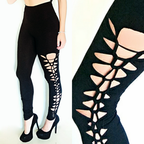 High waisted braided leggings modal black knit side view