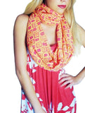 Infinity Looper Scarf, Runner / Peach with pink square print, Print, Summer Shawl