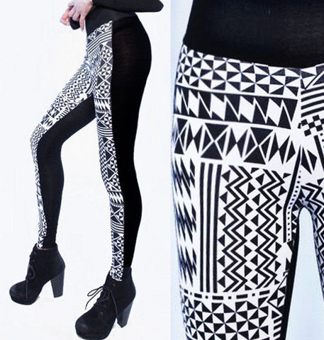 Black and white aztec colorblock leggings, side view and close up of front view