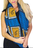 100% Cotton Infinity Looper Scarf, Large Size, Blue Gold Black Bird Tribal Print