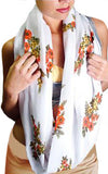 Infinity Looper Scarf, Large Size, Floral on White Print