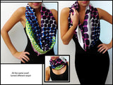 Silk Infinity Looper Scarf, Square Dots Print, Rainbow color, Summer shawl