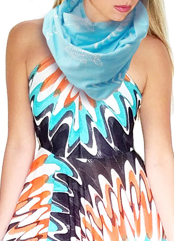 Cotton Knit Infinity Looper Scarf, Beach Print, Aqua Blue/White, Summer Shawl