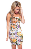 Floral Strapless Bodycon Tube Dress - front view